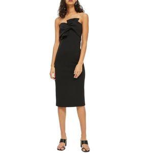 Topshop Bow Twist Strapless Textured Midi Dress